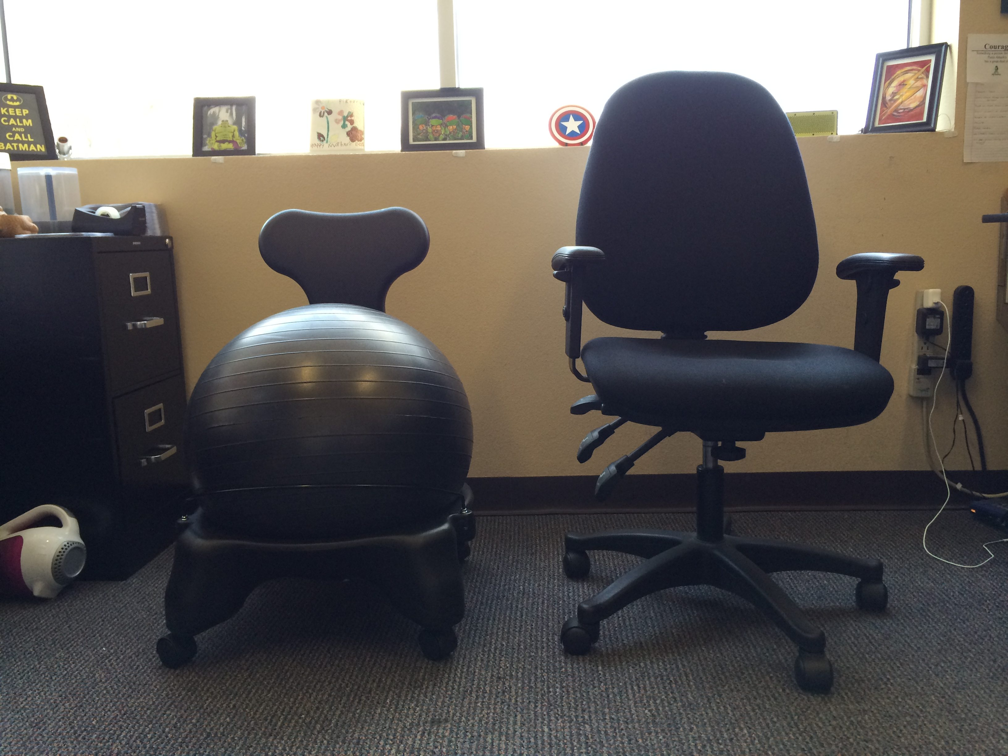 balance ball office chair left balanceball chair right regular chair image dakster sullivan