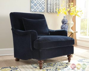 blue accent chair with arms midnight blue accent chair with saddle arms and turned legs