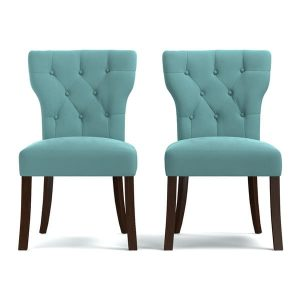 blue tufted dining chair portfolio sirena turquoise blue velvet upholstered armless dining chairs set of bb ec a aa eacda