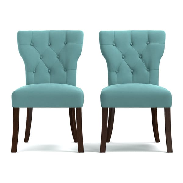 blue tufted dining chair