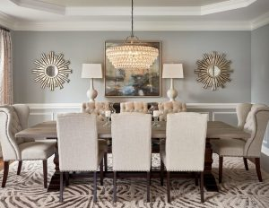blue tufted dining chair transitional dining rooms dining room transitional with wainscoting bronze chandeliers