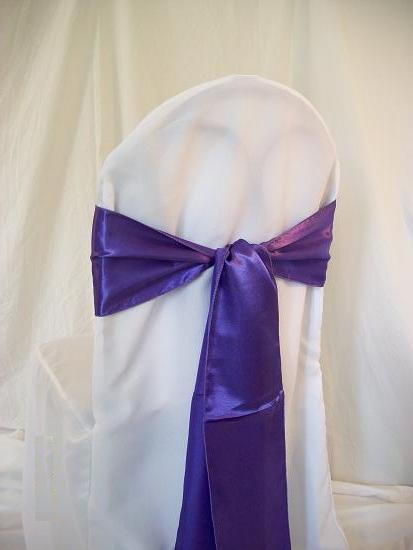 chair cover sashes purple sash