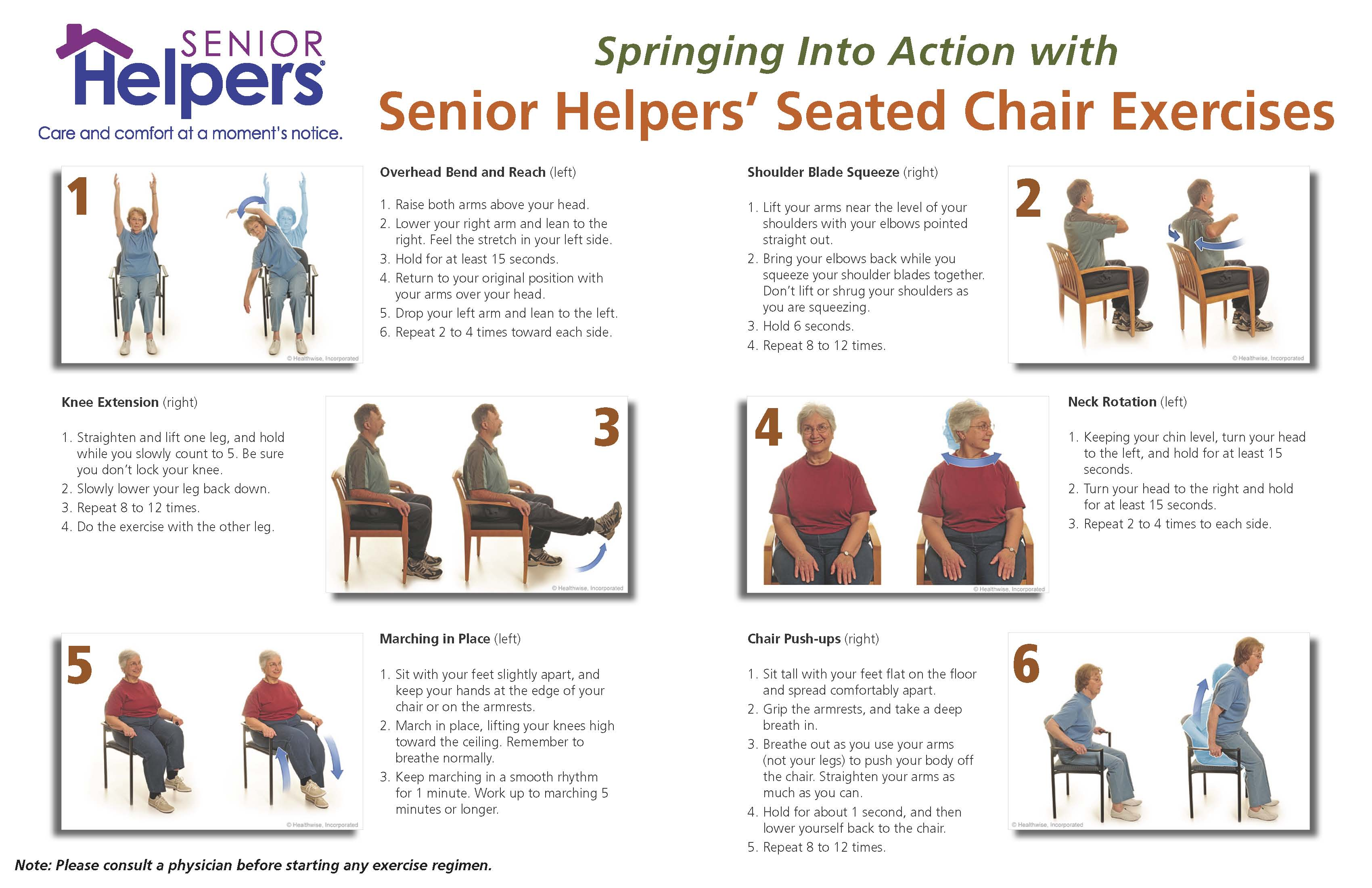 chair exercises for elderly spring into action senior exercise poster page