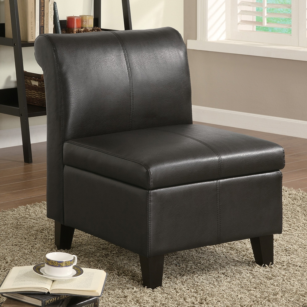 chair with storage furniture black armless leather accent chair with storage and wooden leg for small modern living room spaces ideas storage chair storage chaise lounge chair table with chair storage
