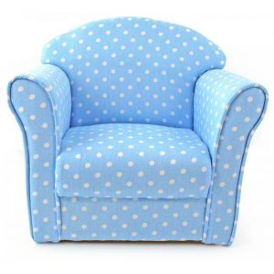 child arm chair childrens baby blue polka dot armchair