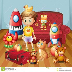 child lounge chair child inside house his toys illustration