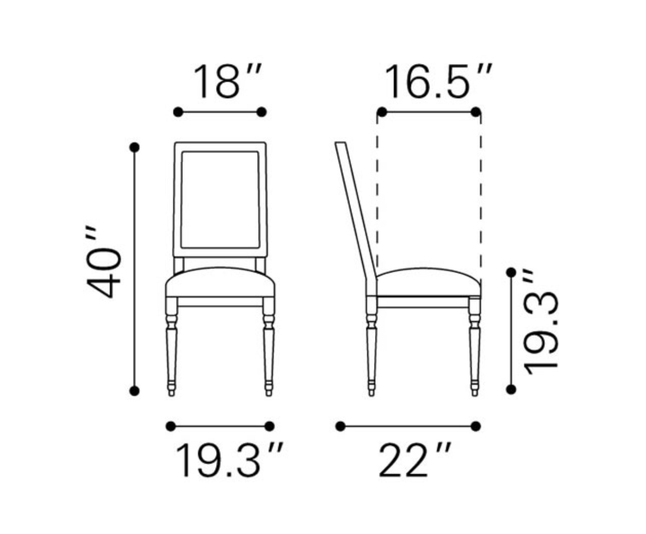 dining chair dimensions. Black Bedroom Furniture Sets. Home Design Ideas