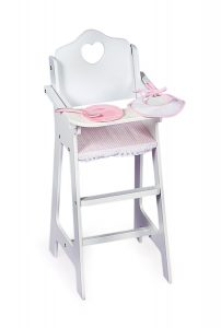 doll high chair white high chair with pink gingham pate