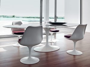 eero saarinen chair tulip large dining table lifestyle arabescato marble white base