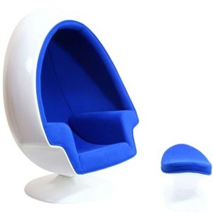 egg shaped chair white and blue egg shaped chair