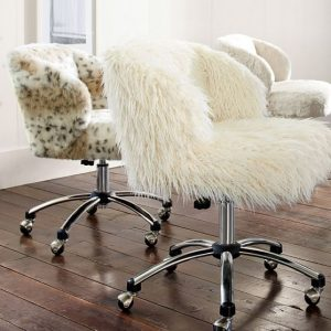 faux fur butterfly chair ivory furlicious wingback desk chair c