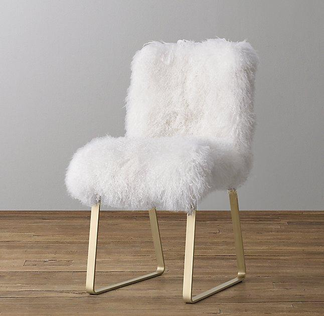 faux fur desk chair astrid mongolian antiqued desk lamb brass fur white chair