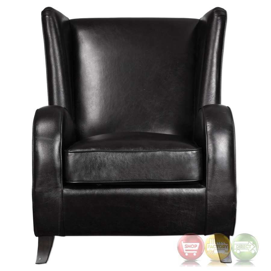 faux leather chair lane black faux leather accent chair with wingback design walnut hardwood legs