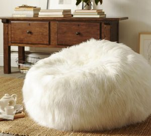 fur bean bag chair beanbag white floor pillow pouf polyester blend long shaggy faux fur pouf