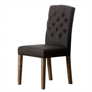 gray tufted dining chair l