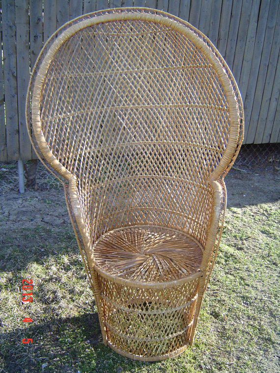 high backed wicker chair