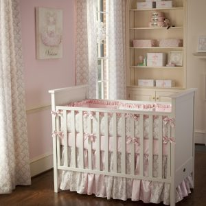 little girl rocking chair pink and taupe damask crib bedding large