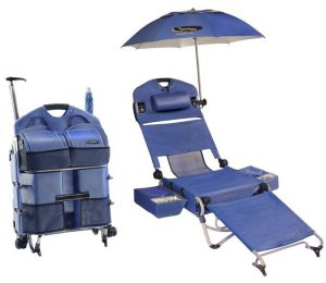 lounge chair with umbrella loungepac the portable beach chair featuring a fridge umbrella and sound system