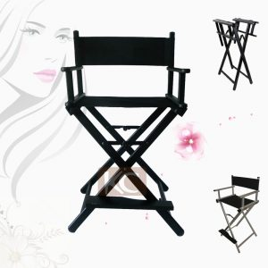 makeup artist chair silver black lightweight portable aluminum metal makeup