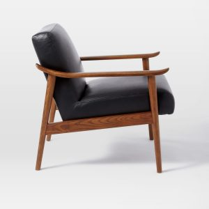 mid century leather chair media