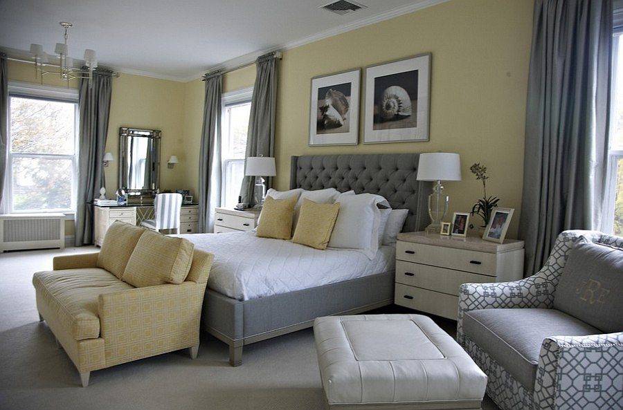 mustard accent chair beach style bedroom in yellow with a splash of gray