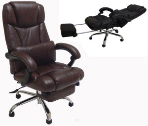 office chair with footrest leather reclining office chair