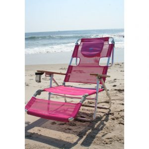 ostrich in beach chair n b pink
