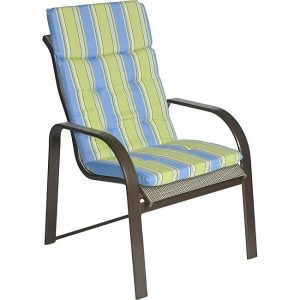 outdoor patio chair cushions ali patio polyester blue stripe tufted hi back outdoor arm chair cushion l