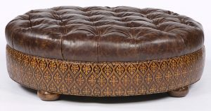 oversized tufted chair large round tufted leather ottoman american furniture