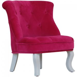 pink velvet chair macp side