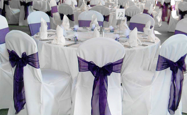 purple chair cover
