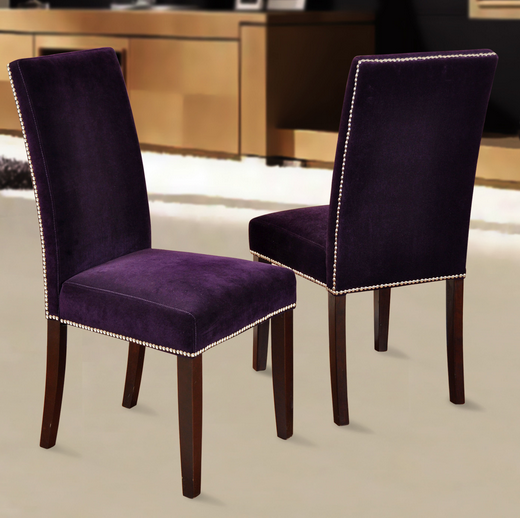 purple dining room chair velvet parson chairs