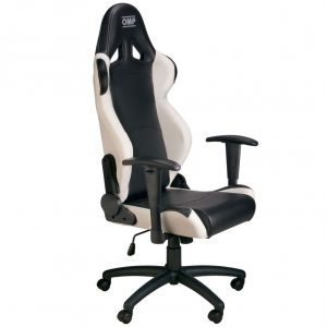 racing seat office chair omp office black white
