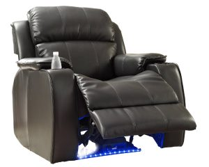 recliner gaming chair homelegance blk jimmy collection upholstered power reclining massage chair black bonded leather
