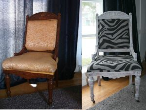 reupholstering a chair zebra chair before and after
