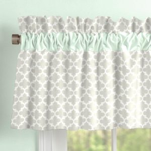 rocking accent chair french gray and mint quatrefoil window valance with accent trim large