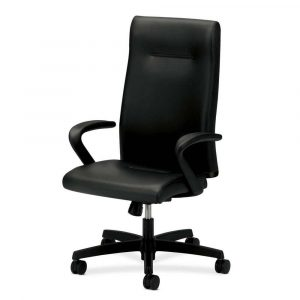 rolling office chair hon ignition black leather high back rolling desk chair