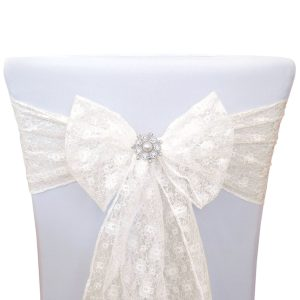 sash for chair lace bow with sparkly brooch ivory sq