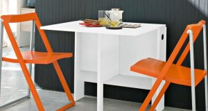 space saving table and chair white space saving table and orange folding chairs