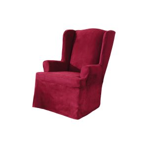 sure fit wing chair covers sure fit soft suede wing chair slipcover