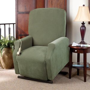 sure fit wing chair covers sure fit stretch pique medium lift green recliner slipcover eaad d ab fbc