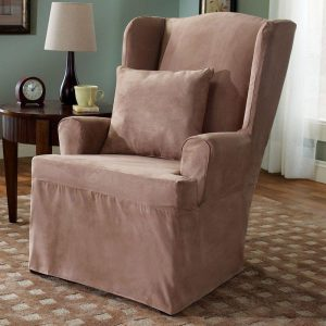 surefit chair slipcovers sure fit slipcovers soft suede wing chair slipcover
