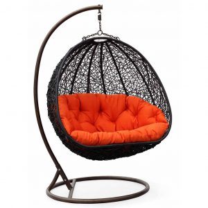 swing chair outdoor two can curl up dual sitting outdoor wicker swing chair