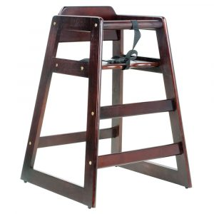 table high chair stacking restaurant wood high chair with dark finish unassembled