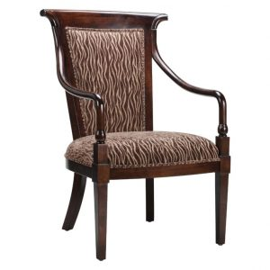 unique accent chair high back upholstered accent chair with dark varnished wood arms design x