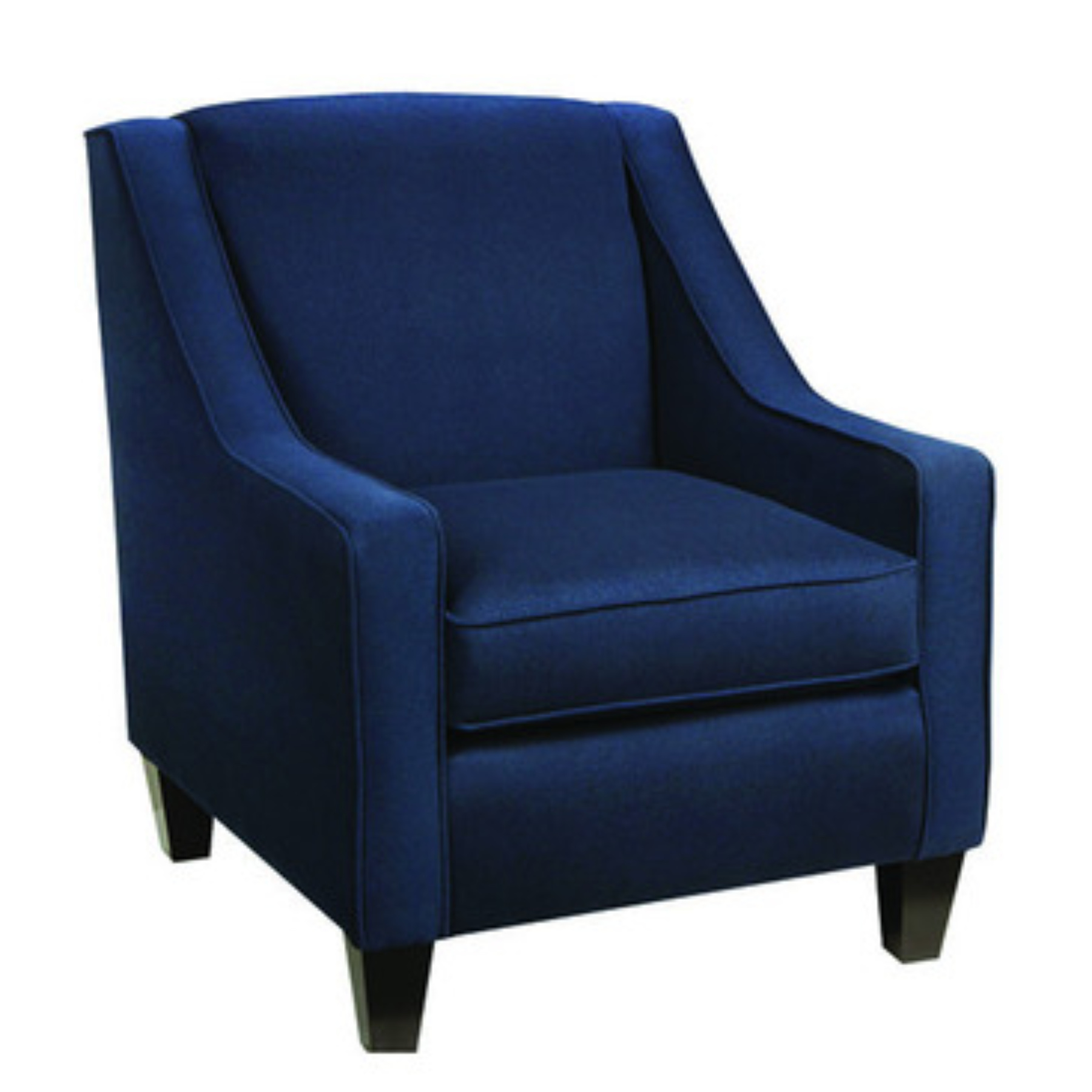 velvet club chair blue upholstered chair with arm and back rest using black wooden tapered leg on white floor with contemporary occasional chairs and accent lounge chairs