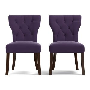 velvet club chair portfolio sirena plum purple velvet upholstered armless dining chairs set of fbf aea bcd