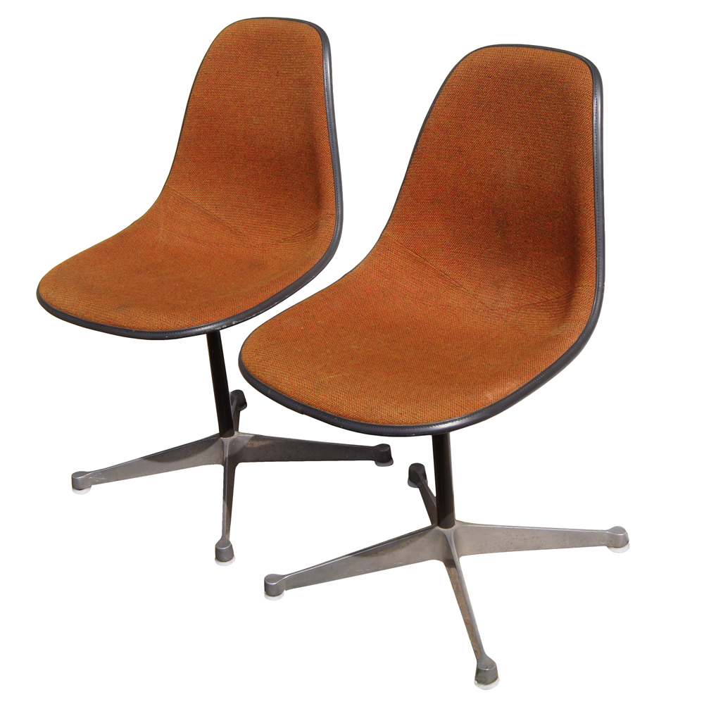 vintage eames chair abvhermanmillerorangefabric