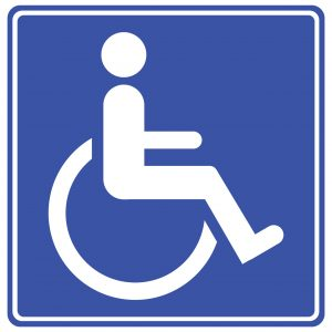 walker with chair disabled sign