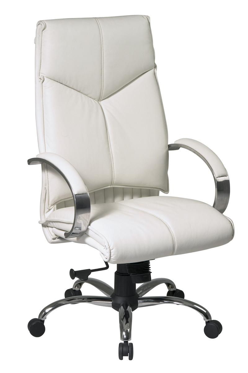office chair white leather. White Leather-based Workplace Chair. Leather Office Chair H